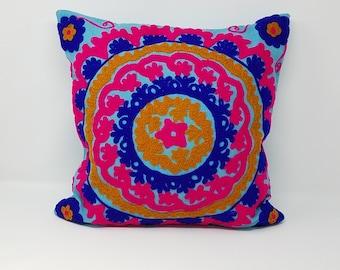 Free Shipping- Beautiful Suzani Decorative pillow cover/ blue pillow cover handmade pillow cover / Embroidered pillow