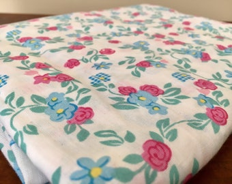 Cotton feel floral flower retro shabby chic cot fitted sheet