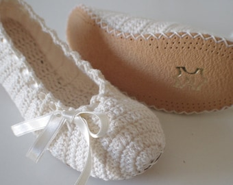 Wedding shoes, Bridal shoes, Wedding dance shoes, Slipper, Bridal Party, Bridesmaid, Handmade knitting #