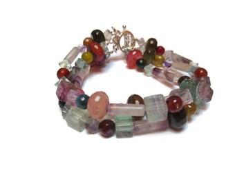 Natural agate and fluorite bracelet / 3 strand bracelet / Gemstone bracelet / Semiprecious bracelet / Gift for her / Amazing bracelet /