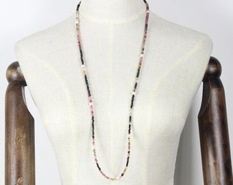 86cm Tourmaline with Freshwater Pearl Necklace in Sterling silver  111337