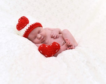 Valentines Day Heart Love Infant Newborn Baby Outfit Beanie Hat Toy Amigurumi Crochet Photography Photo Prop