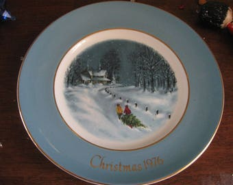 bringing home the tree  1976 CHRISTMAS PLATE  series