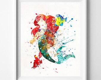 Ariel Print, Little Mermaid, Princess Ariel, Sebastian, Flounder, Baby Room Art, Nursery, Watercolor Painting, Fathers Day Gift