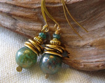 green and gold love knot earrings