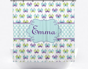 Personalized Shower Curtain with Butterflies - Butterfly Name Shower Curtain - Custom Bath Decor - Blue Butterfly Bath Curtain for Girls