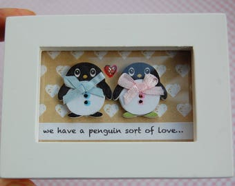Love Message, Penguin Card,  Penguin Gift, Valentine Gift, Valentine Boyfriend, Valentine Girlfriend, Mini Picture