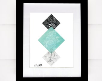 Atlanta Map, Downtown Atlanta Map, Geometric Art