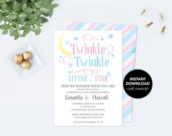 Twinkle Twinkle Little Star Baby Shower Invitation, Gender Reveal Ideas, Baby Shower Invitation, Gender Reveal Party, Boy Girl Baby Reveal