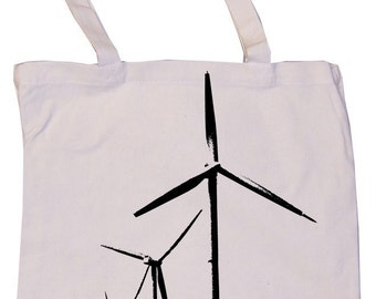 Wind Farm Alternative Energy Windmill Graphic Print Natural Tan Canvas Reusable Grocery or Book Tote Bag