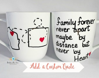 Long Distance Family Gift, Long Distance Mug, 16 oz Ceramic Mug, Your Choice of Quotes and States