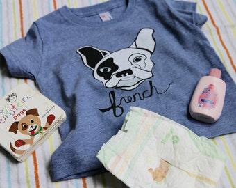 Baby French Bulldog Lap Tee Onesie  Dog Kid's T-Shirt or Frenchie Puppy Youth Top