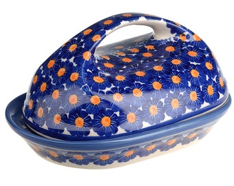 BCV Polish Pottery Hand Painted Stoneware, Ceramic Butter Dish with lid 331-U-002
