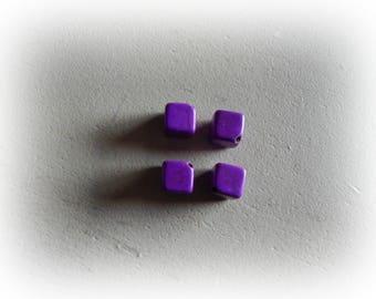 4 beads cube howlite, 8 mm, purple