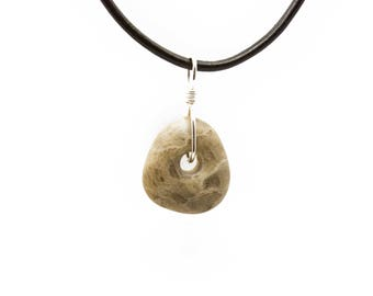 Petoskey Stone Necklace Matte Petoskey Stone Jewelry Pendant Michigan Coral Fossil Beach Stone Leather Silver Gift for Women Her ET219