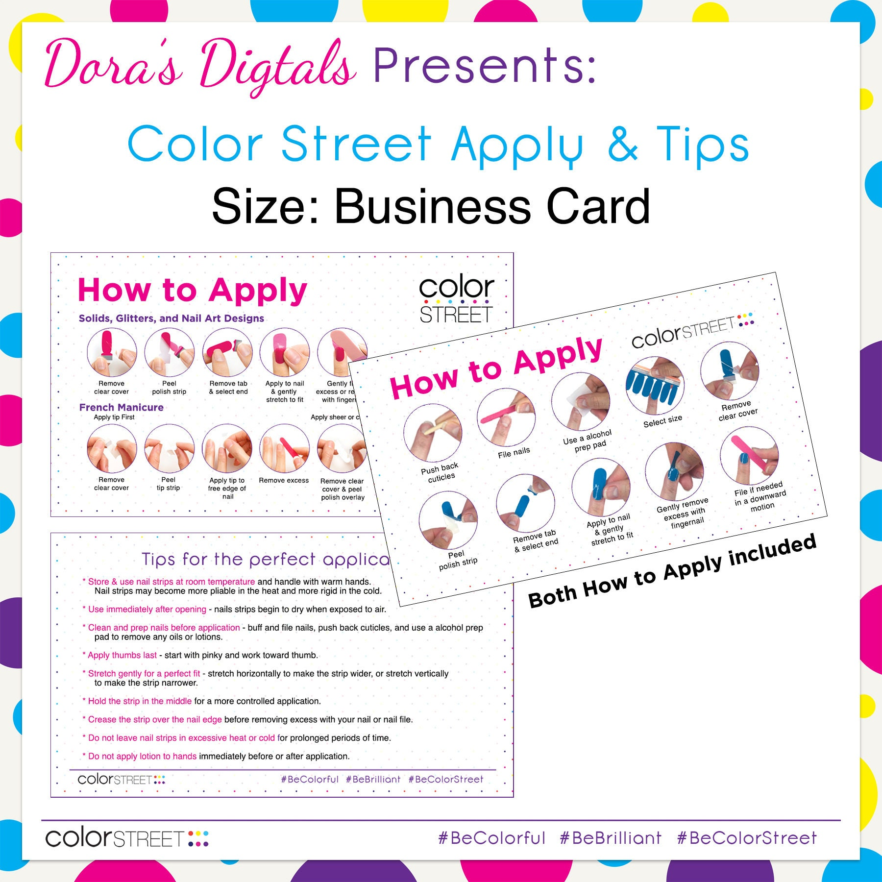Color street business card apply tip cards instant digital zoom reheart Choice Image