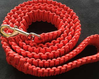 """Paracord Dog Leash - """"Red Reflective"""""""