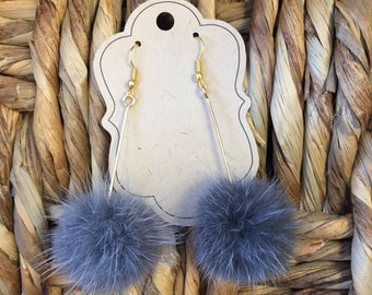 Gray fur pom pom earrings with gold french hook