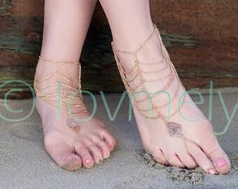 KATY ANKLET- gold chain foot anklet / gold anklet / drape anklet/ foot chain/ barefoot sandal /boho chic