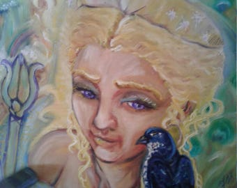 CLEARANCE: Hera and the Cuckoo 16x 20 oil painting