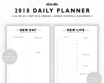 2018 DAILY PLANNER / A4 Daily Planner / A5 Daily Planner / DTS Planner / Meal Planner / To Do List / The Harlow Planners in Moonshine / 404
