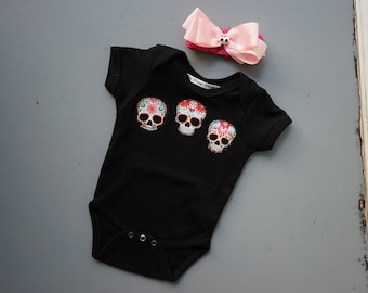 Olivia Paige -Sugar skull baby girls rockabilly punk rock outfit bodysuit with headband hair  bow