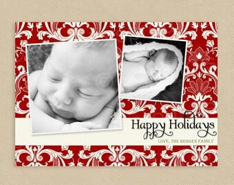 SALE Printable Christmas Card Christmas Holiday 2 Photo 5x7 Red Damask