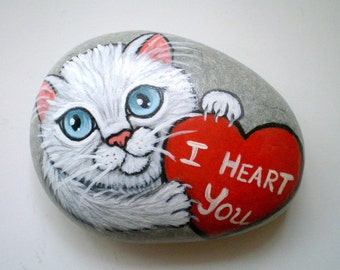 I Heart You -  White Cat Painted Stone, rock art  Paperweight,  gift for cat lovers