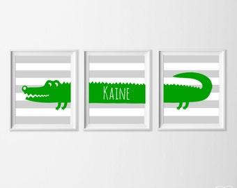 Personalized Alligator Nursery Art, Safari Alligator Nursery Wall Art, Alligator Set of 3, Safari Kids Decor Alligator, Zoo Nursery Art