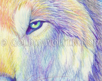 Multicolored Wolf Miniprint