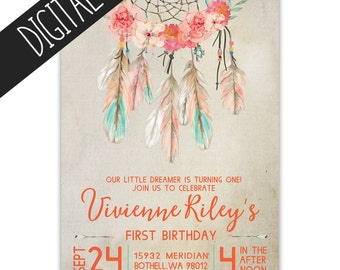 Dream Catcher Birthday Invitation, Coral & Mint Bohemian Feathers -  Digital Print Yourself Invitation