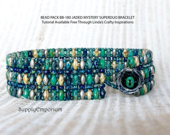 Bead Pack BB-180 Jaded 'Mystery Superduo' Bracelet  - Tutorial Available Separately, Bead Pack BB180 Jaded Mystery Superduo