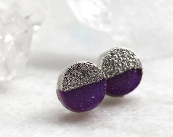 HUGE SALE druzy studs, purple druzy, silver druzy studs, gold studs, electroformed, post earrings, gifts for her