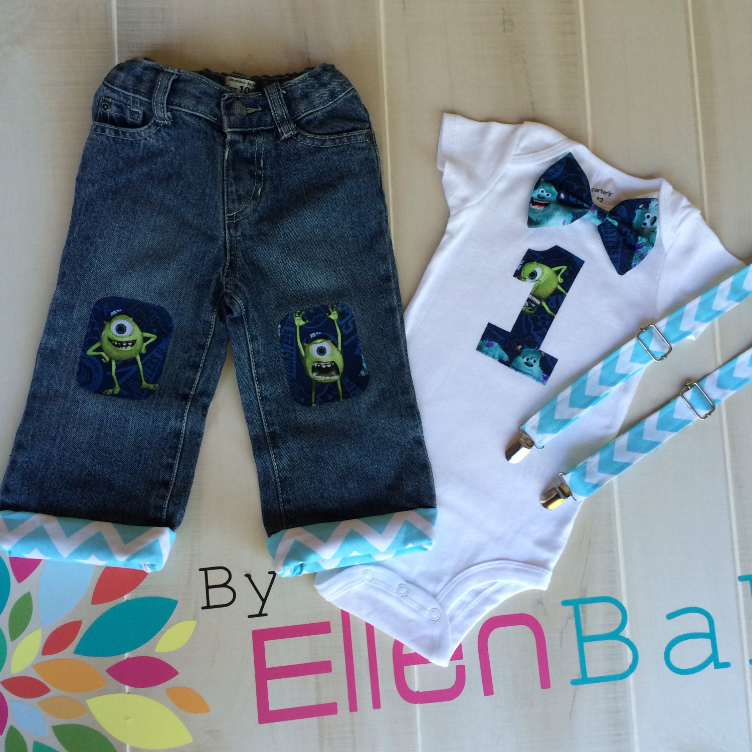Monsters Inc 1st Birthday Shirt with attached Suspenders and