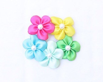 Spring Collection Set of 5 Mini Flower Hair Clips - Colorful Spring Flowers Hair Bows