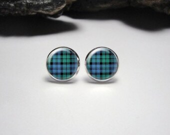 Tartan Stud Earrings / Tartan Jewelry / Blue and Green Stud Earrings /Plaid Studs Gifts for Her