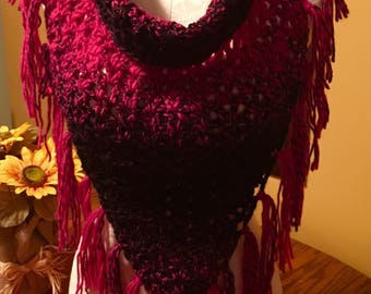 SALE!!! V-Stitch Triangle Cowl with button Enclosure in bright pink and black made in very soft yarn.