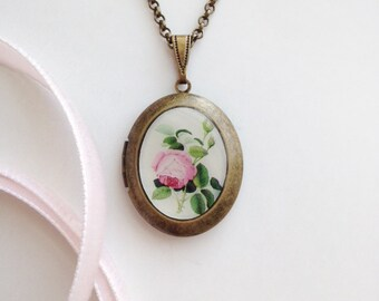 Blushing Garden Rose Locket - Antique Botanical Illustration - Brass Photo Necklace
