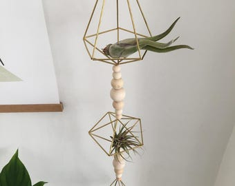 Hanging Brass Himmeli Garland • Air Plant Holder • Scandinavian • Geometric Decor