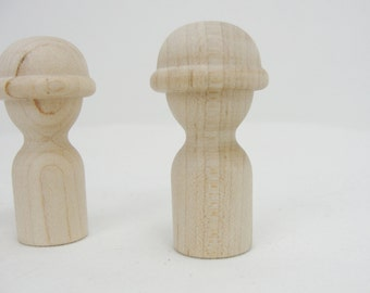 Wooden peg people construction worker, army person, soldier, hard hat unfinished DIY set of 3