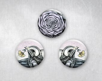 Skeleton Lovebirds Animal and Rose Dark Art, Pinback Buttons, Original Art Design, 1.25 inch, Set of 3