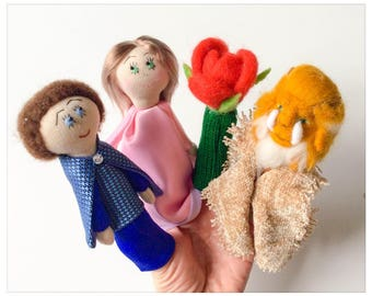 The beauty and the beast - fingers in knit and felted wool puppets