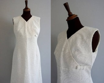 1960s White Brocade Wiggle Dress / 1960s Midi Wedding Dress / Vintage White Dress / Cocktail Dress