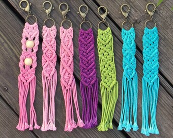 Hand dyed, handmade macrame keychain