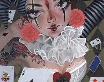 Harlequin giclee pop surrealism print by Susan Van Sant