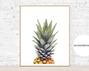 Pineapple Print, Pineapple Wall Art, Pineapple Decor, Tropical Print, Pineapple Poster, Digital Download, Pineapple Photo, Fruit Print