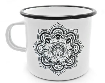 NEPAL Enamel Mug Camping Travel White Gift Birthday Adventure Drawing Picture Liptov Handmade