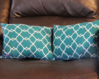 """13.5""""x10"""" Blue/White Couch Pillows"""