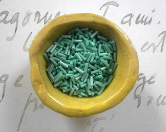 4g Vintage Japanese Bugle Bead Seafoam Green Tube Bead Vintage Seed Beads Studio DESTASH