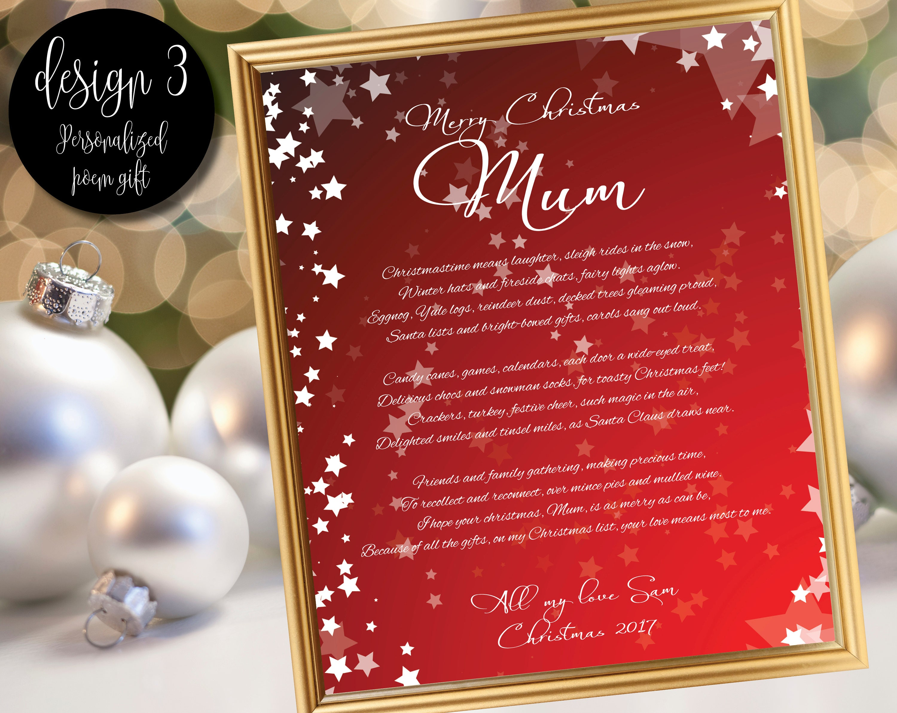 Christmas poem gift for Mum / Gift for Mom / Mum gift /